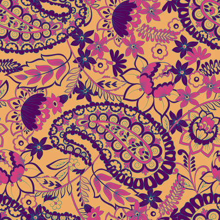 paisley vintage seamless pattern. damask vector background