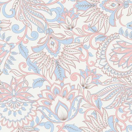 floral vector illustration in damask style. ethnic background