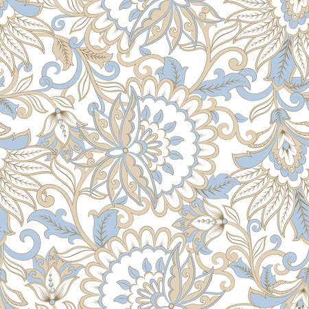 folkloric flowers seamless pattern. ethnic floral vector ornament