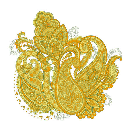 ethnic flowers and paisley vector pattern. floral vintage illustration