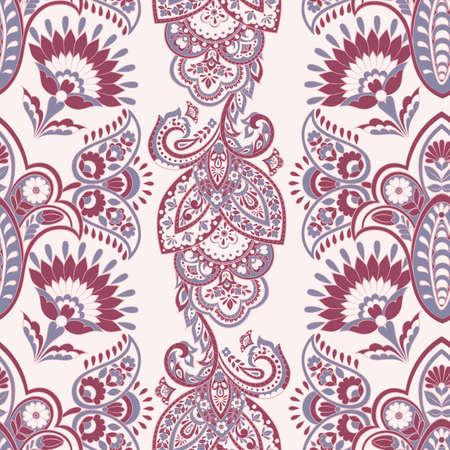 ethnic flowers seamless vector pattern. floral vintage background Çizim