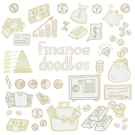Doodle Business and Finanse isolated. Vector illustration