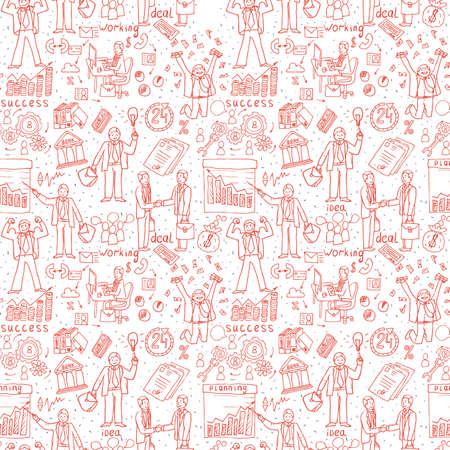 Business People seamless Doodles. Hand drawn Vector pattern