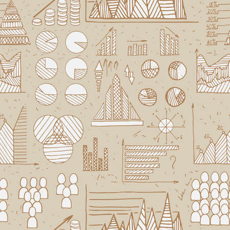 Doodle Diagrams, Graphs and Charts seamless vector pattern Illustration