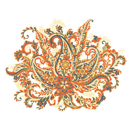 Paisley colorful ornament. Isolated Vector illustration
