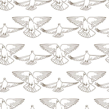Flying birds seamless pattern. Vector background 矢量图像