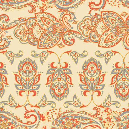 Folkloric Batik vector ornament. Ethnic Floral seamless pattern. Vector Illustration