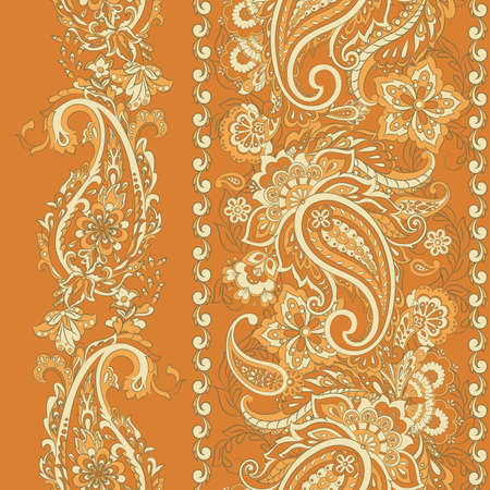 Floral seamless pattern with paisley ornament 向量圖像
