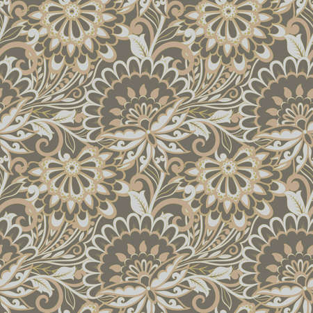 folkloric flowers seamless pattern. damask floral vector ornament