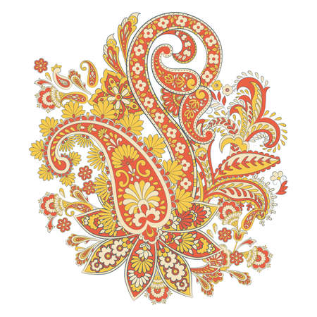 isolated Paisley pattern in indian style. Floral vector illustration