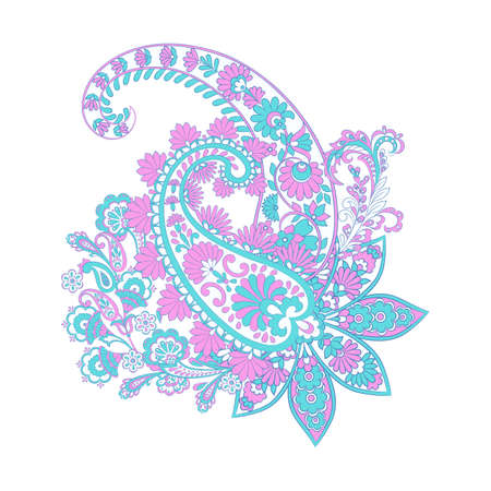 Paisley and Fantastic flower, leaves. Batik style painting. Vintage vector illustration Vektorové ilustrace