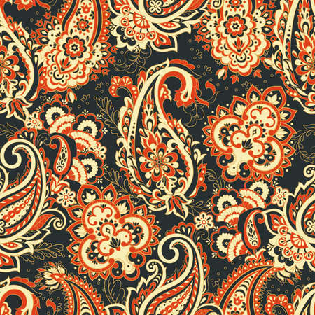vintage pailsey pattern in indian batik style. floral vector background