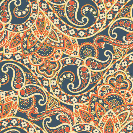 Floral ethnic pattern with paisley ornament. Seamless vector illustration Vetores