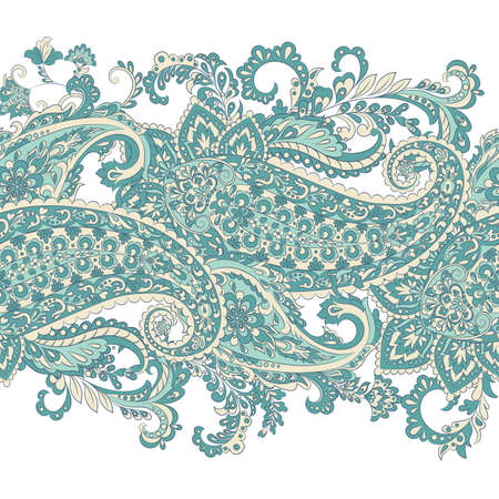 Paisley Damask ornament. Isolated Vector border