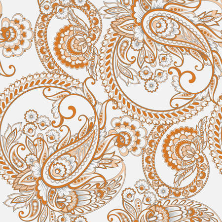 Paisley style Floral seamless pattern. Ornamental Damask background Çizim