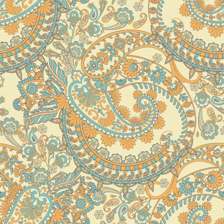 paisley seamless vector pattern Çizim
