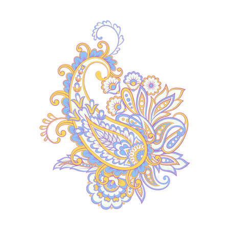 Isolated vector pattern with paisley ornament