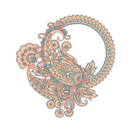 Vector Paisley pattern in indian style Çizim