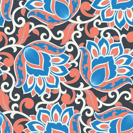 floral vector illustration in damask style. ethnic background Çizim