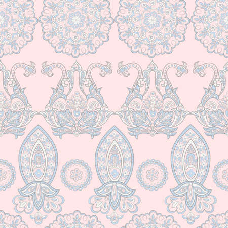 Seamless pattern with ethnic flowers. Vintage Vector Floral Illustration
