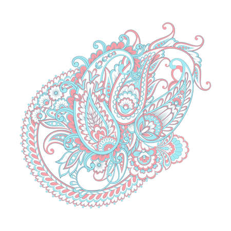 Paisley Damask ornament. Isolated Vector illustration Illustration
