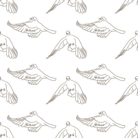Flying birds seamless pattern. Vector background Vettoriali