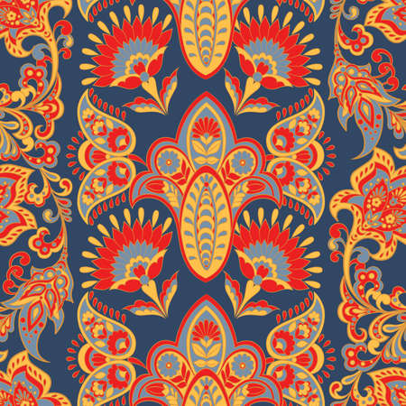 Ethnic seamless pattern with floral elements. Vector background