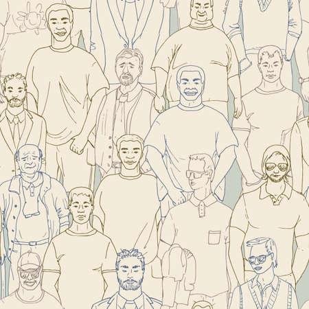 seamless crod of men vector pattern. Hand drawn   向量圖像