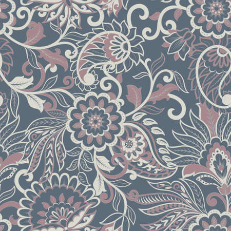 Seamless Asian Textile Background. Paisley Pattern Vecteurs