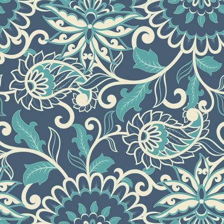 Paisley seamless pattern. Vintage background in batik style