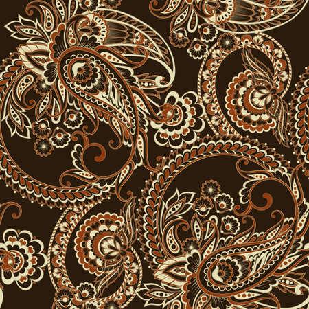Paisley style Floral seamless pattern. Ornamental Damask background Illustration