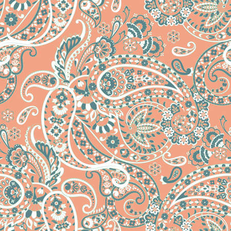 Paisley folkloric flowers seamless pattern. ethnic floral vector ornament