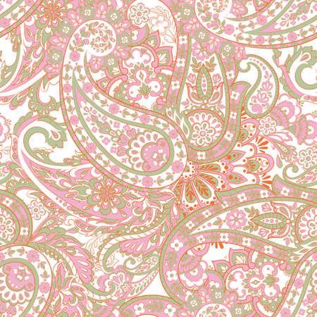 Seamless pattern with paisley ornament. Vector floral illustration in asian textile style