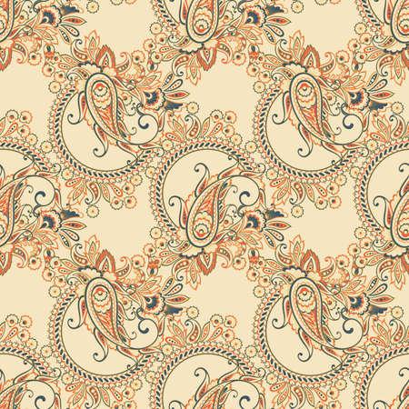 Seamless Asian Textile Background. Paisley pattern
