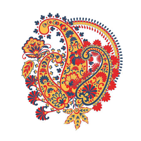 Floral pattern with paisley ornament. Vector illustration