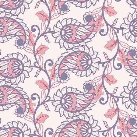 Paisley floral vector illustration in damask style. ethnic background Illustration