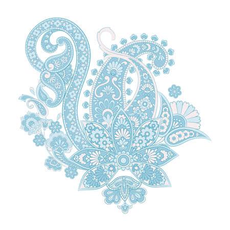 paisley flower pattern in damask style, indian floral design, vector illustration Ilustração