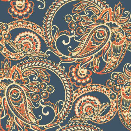 Paisley style Floral seamless pattern. Ornamental Damask background Ilustração