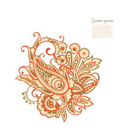 Paisley isolated pattern. Vintageillustration in batik style Ilustração