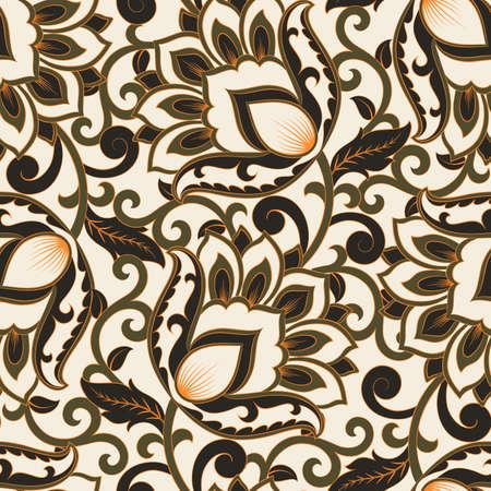 floral vector illustration in damask style. ethnic background Ilustração