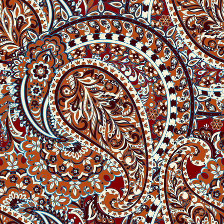 Indian paisley seamless vector pattern