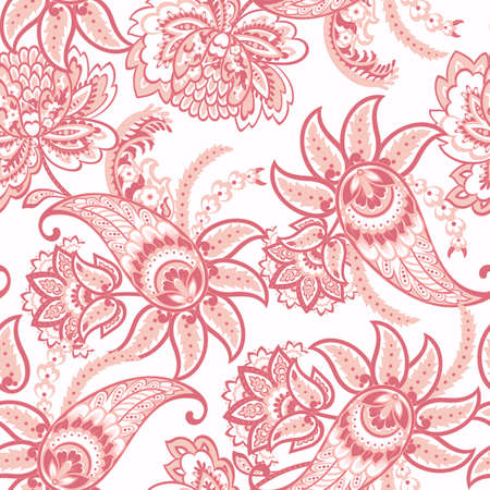 Paisley floral seamless pattern