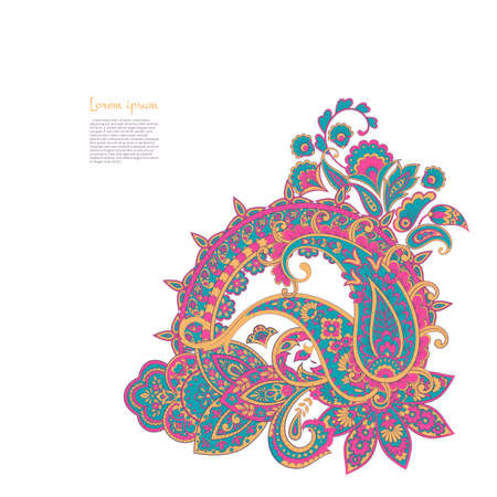 Paisley isolated pattern. Vintageillustration in Damask style
