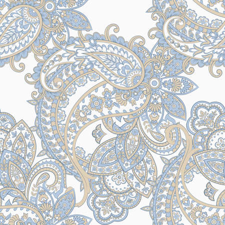 Paisley seamless pattern with flowers in indian style. Vector Illustratie