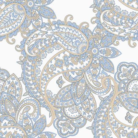 Paisley seamless pattern with flowers in indian style. Vektoros illusztráció