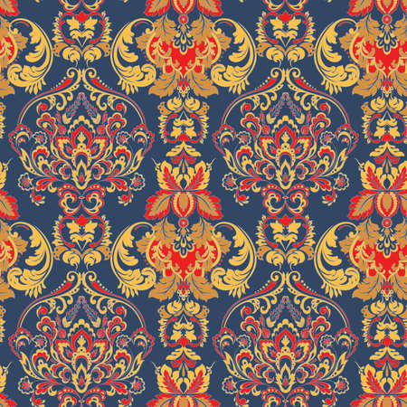Ornate damask vintage wallpaper. Vector seamless pattern