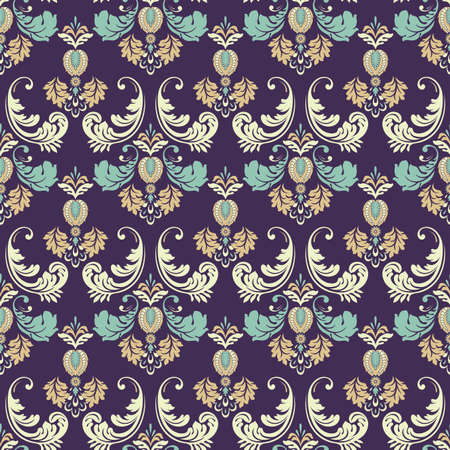 Seamless Ornate damask background. Vector vintage wallpaper