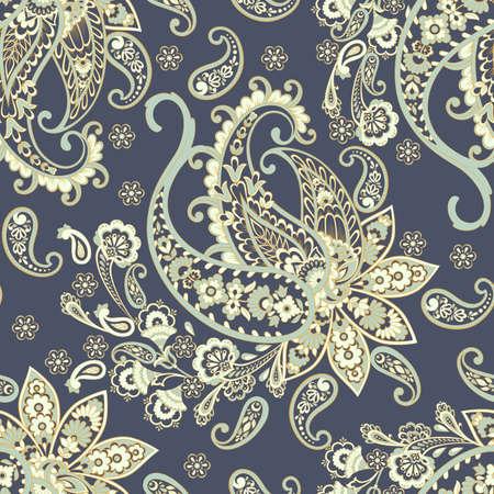 Paisley vector seamless pattern. Fantastic flower, leaves. Textile bohemian print. Batik painting. Çizim
