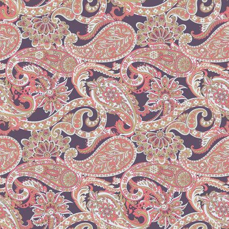 Paisley vector seamless pattern. Fantastic flower, leaves. Textile bohemian print. Batik painting. Vintage