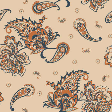 Paisley seamless pattern. Vintage background in batik style